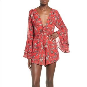 FOR LOVE AND LEMONS PIA RED FLORAL ROMPER